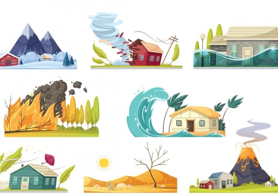 Ilustration of natural disasters including, flood, tsunami and bushfire