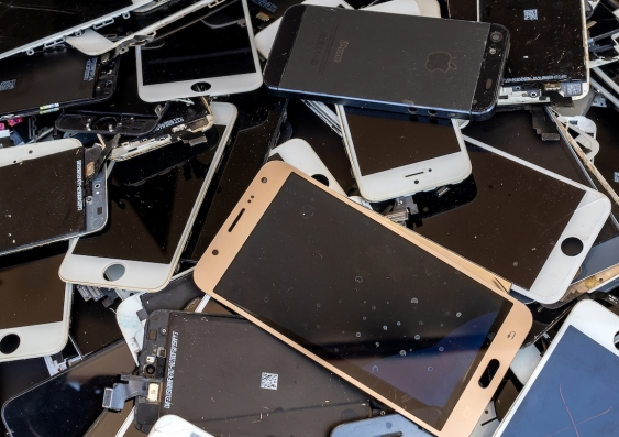 pile of discarded phones