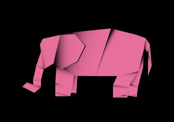 Pink origami elephant on black background