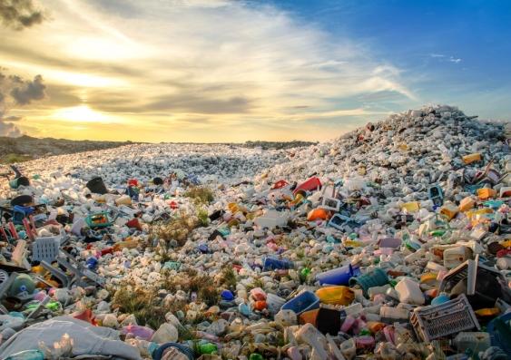 Plastic rubbish in landfill