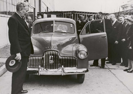 Prime Minister Ben Chifley introducing Australia's own car, the Holden, at a manufacturing plant in Victoria in 1948.