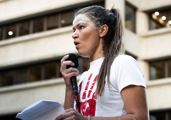 Vanessa Turnbull-Roberts speaks at march for Kumanjayi Walker