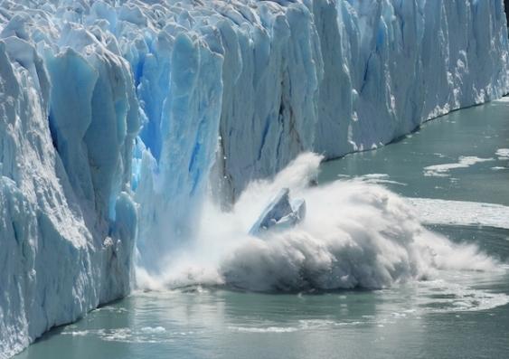 A glacier melts in Antarctica