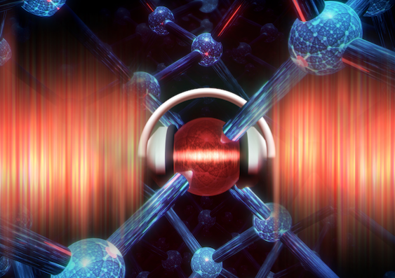 artist's impression of an atom qubit in silicon being protected from charge noise
