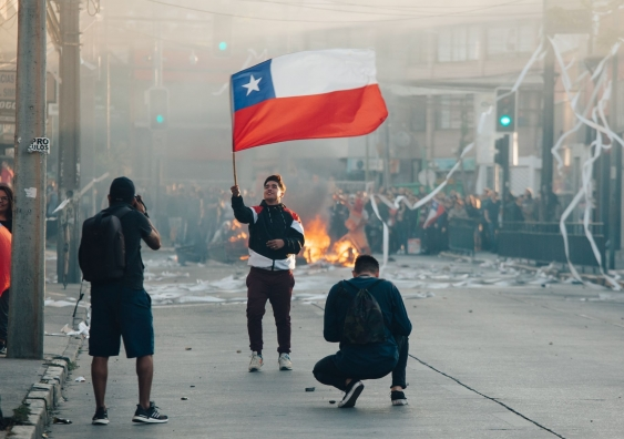 Barricades during protests against the government in Chile, 2019