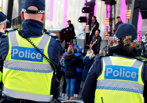 Police at a music festival