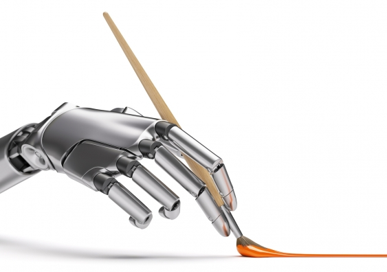 robotic hand using a paintbrush