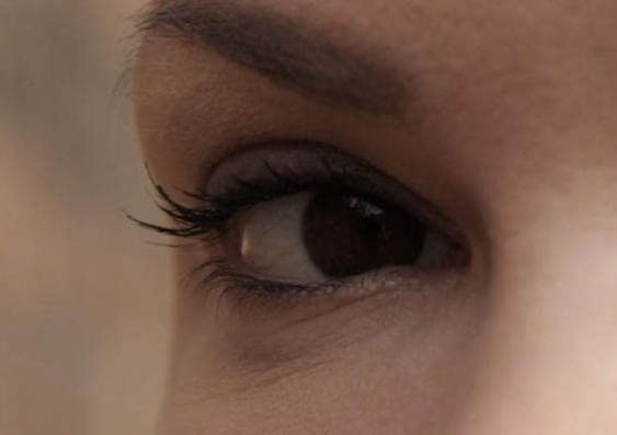 Close up of a woman's eye and brow