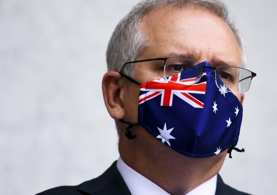 scott morrison wearing an australia flag face mask
