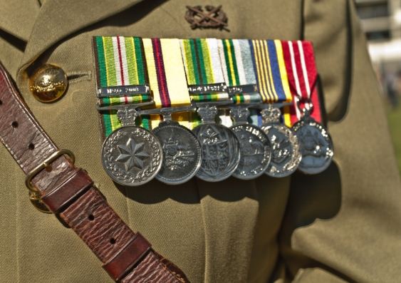 Australian veteran war medals on military uniform