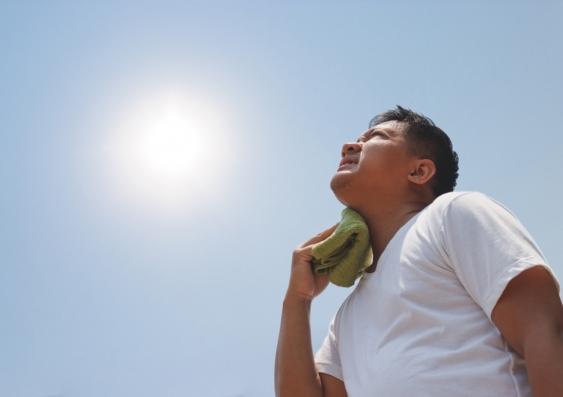 man under burning sun