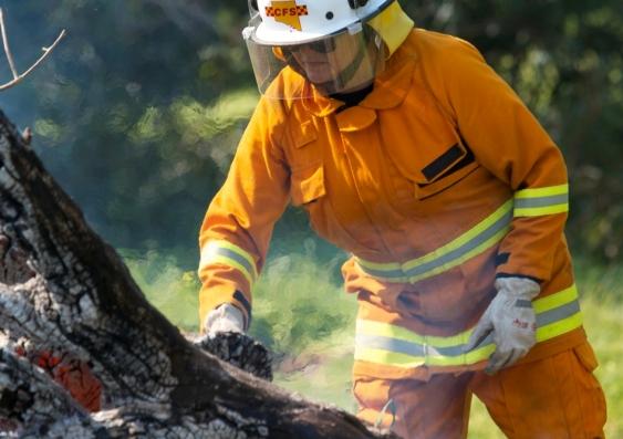 Fireman conducting hazard reduction