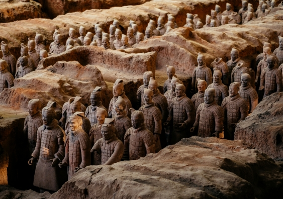 A collection of terracotta sculptures depicting the armies of Qin Shi Huang.