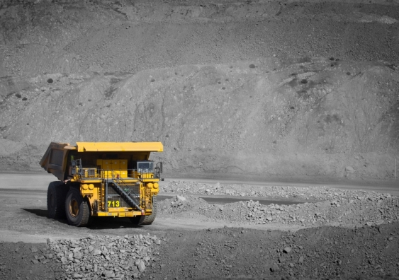 A truck transports coal from open cut mine in Queensland.