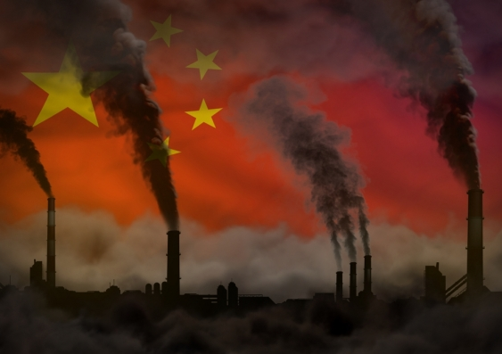 Polluting factories with China flag