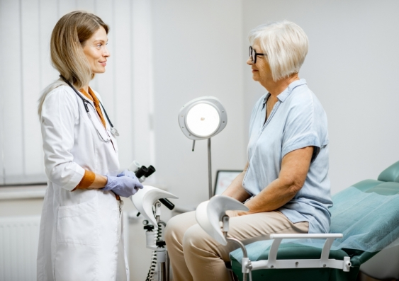 Older women with doctor in a gynaecology appointment