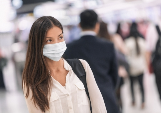 woman wearing face mask in public place