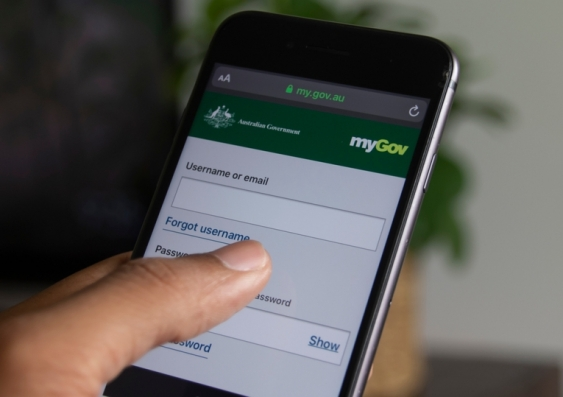 MyGov site on a mobile phone