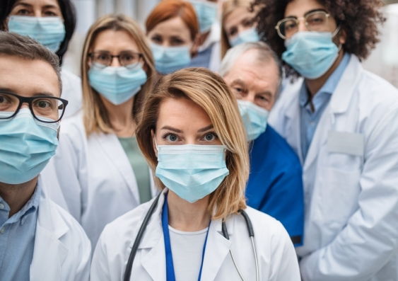 healthcare workers in masks