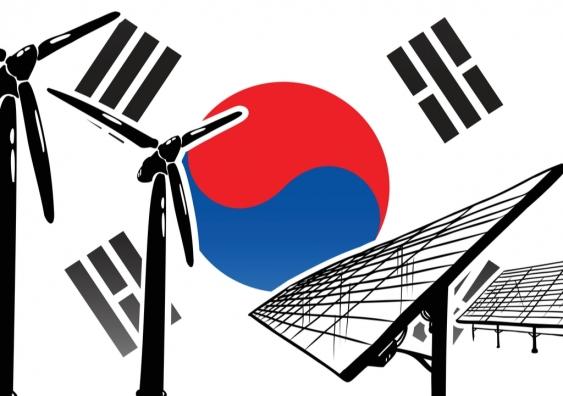 South Korea flag with renewable energy