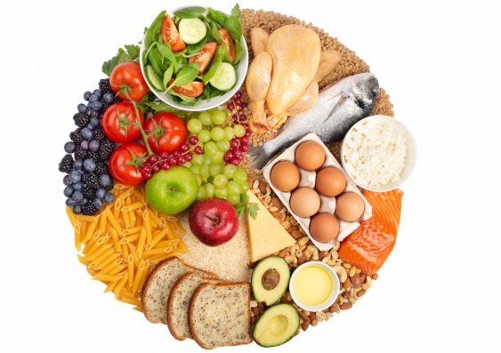 A circle of fresh foods organised in food groups