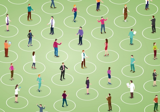 abstract image of people standing in circles