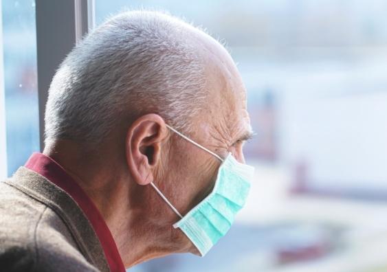 elderly man in face mask