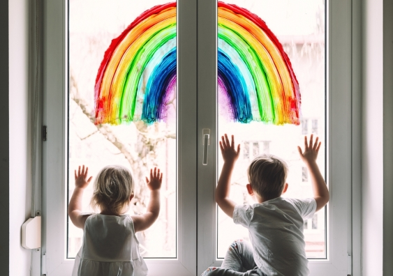Rainbow art in window