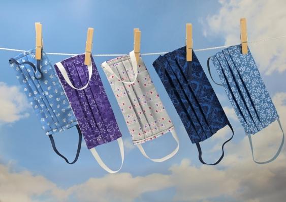 cloth masks on a clothesline