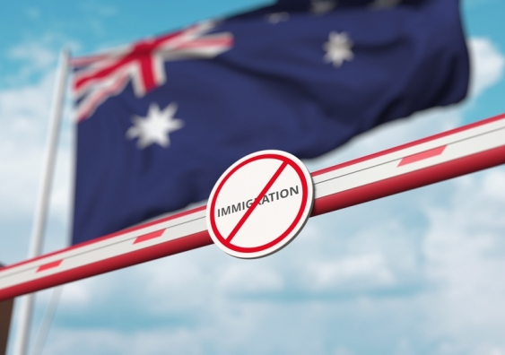 No immigration sign in front of Australian flag