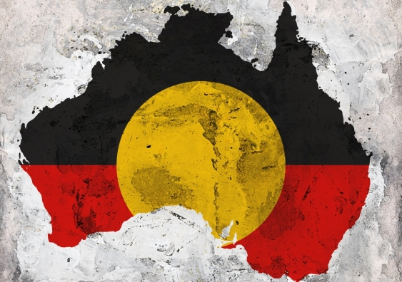 Australia shaped Aboriginal flag