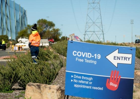 A 'COVID-19' free testing signage in Sydney.