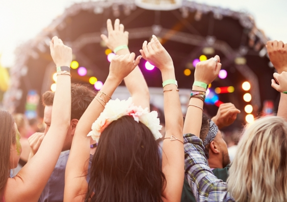 Women dancing at a music festival