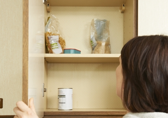 bare food cupboard