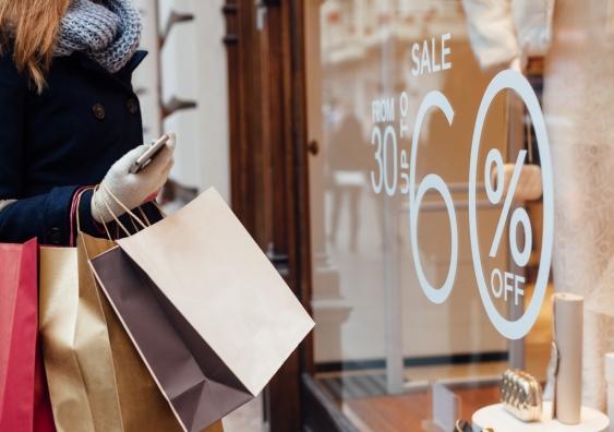 A woman window-shopping.