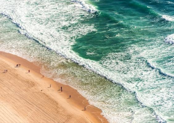 Aerial view of beachgoers at an Australian beach