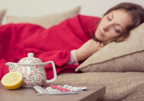 unwell woman sleeping