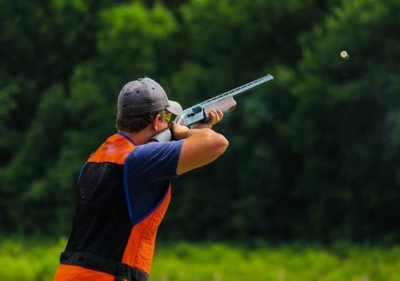 Man shooting target at gun club