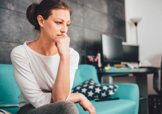 sad anxious woman