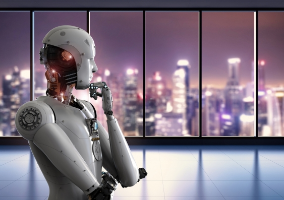 A robot looks out over a city skyline. Image: Shutterstock