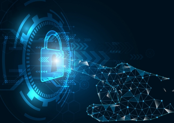 a digital hand unlocking a digital padlock