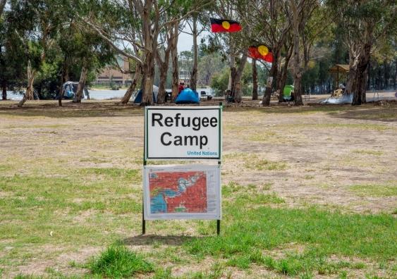 A Refugee Camp in Heirisson Island, Western Australia.