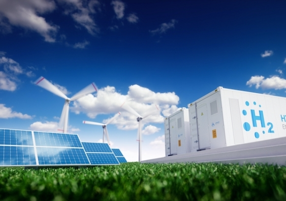 hydrogen storage facility near windfarms and solar panels