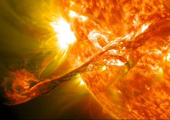 Close-up of solar flare and coronal mass ejection on the Sun