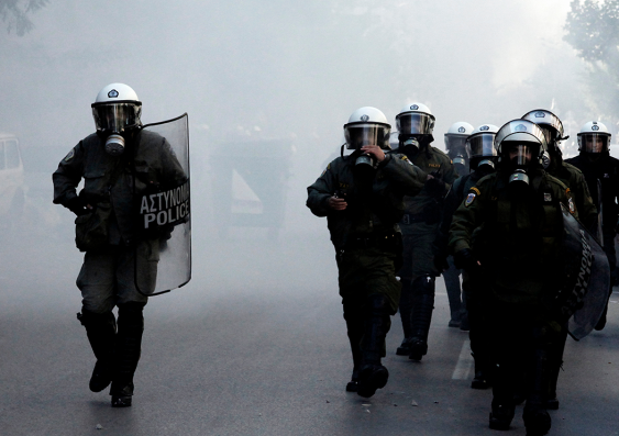Police at protest in Greece
