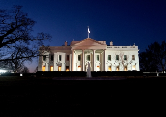 the white house illuminated just after dusk