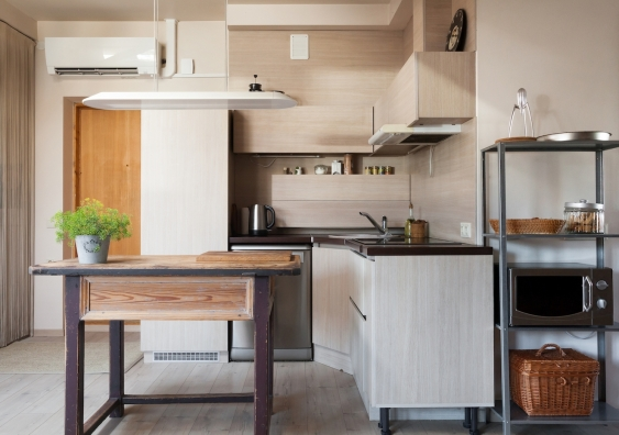 tiny kitchenette in a modern studio apartment