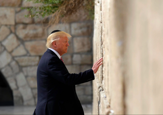 US President Donald Trump at the Wailing Wall in Israel
