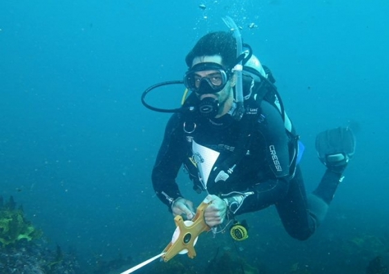Mathew Skye is an avid scuba diver, a skill that was a big part of his studies and also now when managing an abalone hatchery.