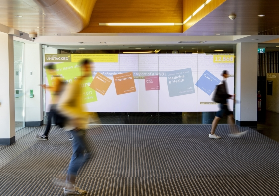 The UNSW Unstacked exhibition at the Library entrance